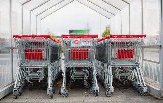 A set of shopping trolley