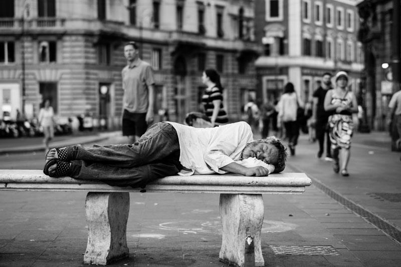 sleeping poor man